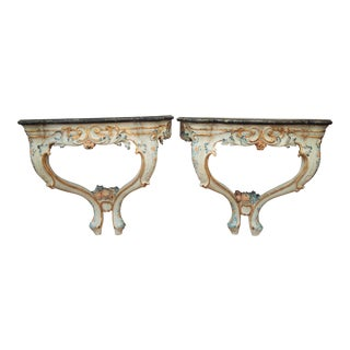 Pair of Painted Italian Consoles For Sale