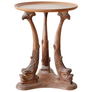 Venetian Carved Grotto Drinks Table With Dolphins For Sale