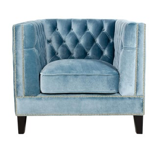 Pasargad Victoria Collection Velvet Armchair in Blue Gray For Sale