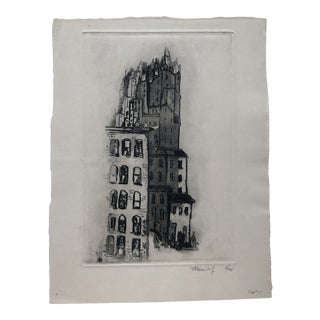 Mid-Century #7 Grove Street New York Aquatint & Etching by Frank Klienholz For Sale