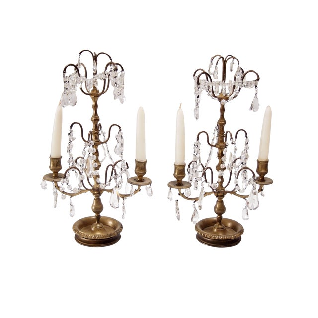French Bronze & Crystal Two Light Candelabra - A Pair For Sale