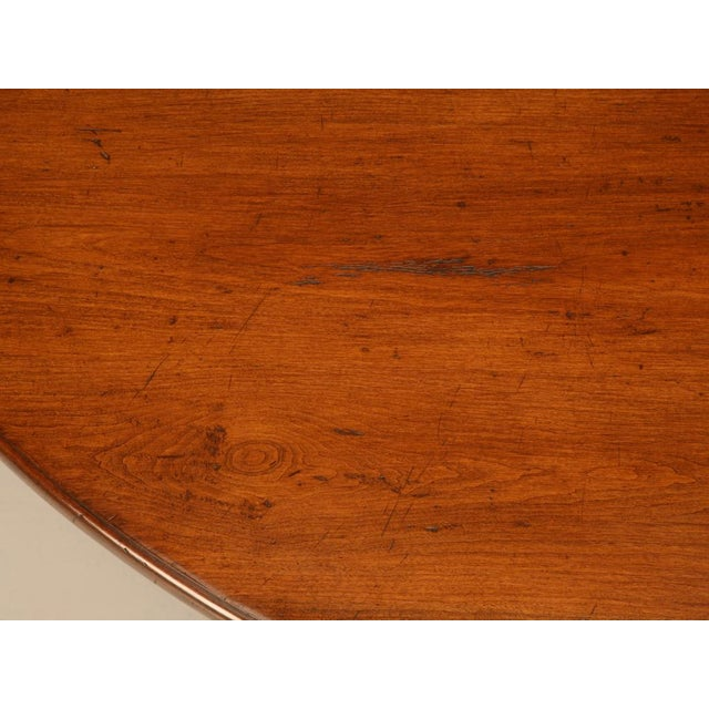 """Brown Vintage English Hand-Crafted Solid Cherry 64"""" Round Dining Table For Sale - Image 8 of 11"""