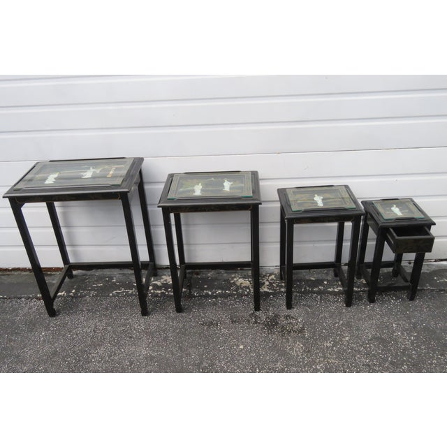 Asian Oriental Black Painted Nesting Tables Set of Four For Sale - Image 3 of 13