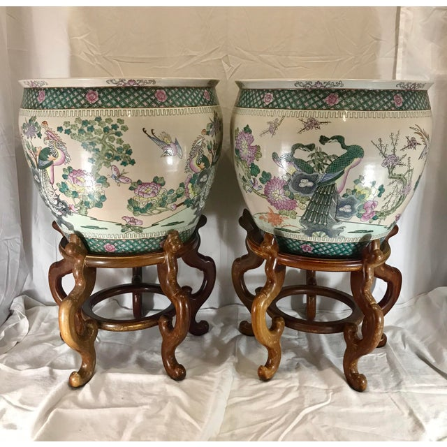Green 20th Century Chinese Qing Famille Verte Porcelain Jardinieres / Planters - a Pair For Sale - Image 8 of 13