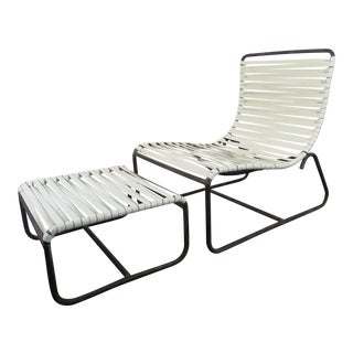 1950s Walter Lamb Patio Sled Chair & Ottoman for Brown-Jordan - a Pair For Sale
