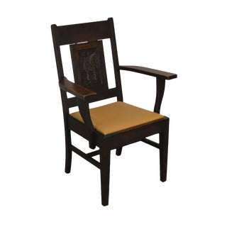 Antique Arts & Crafts Oak Armchair With Carved Birds For Sale