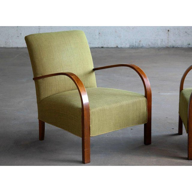 Early Midcentury Danish Art Deco Low Lounge Chairs- A Pair For Sale - Image 4 of 12