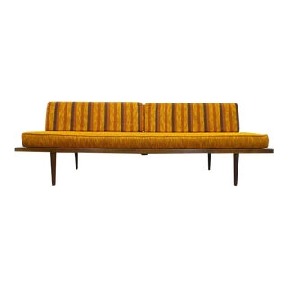 Mid Century Modern Orange Tweed and Striped Reversible Upholstered Daybed Sofa For Sale