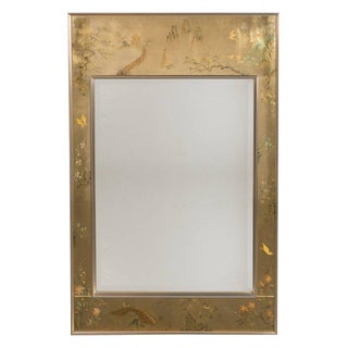 Mid-Century Modern La Barge Reverse Hand-Painted Glass Chinoiserie Mirror