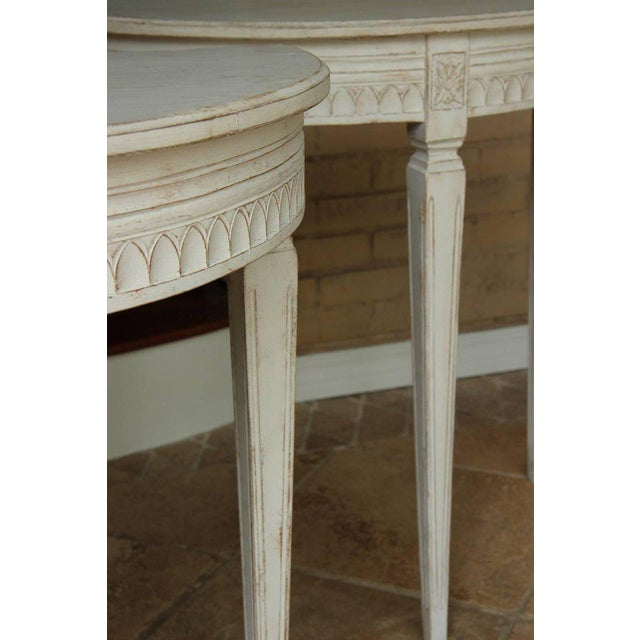 19th Century Pair of Swedish Gustavian Bedside Demilune Console Tables For Sale - Image 4 of 9