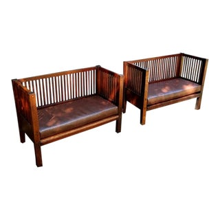 Children's Mission Spindled Cube Settees- A Pair For Sale