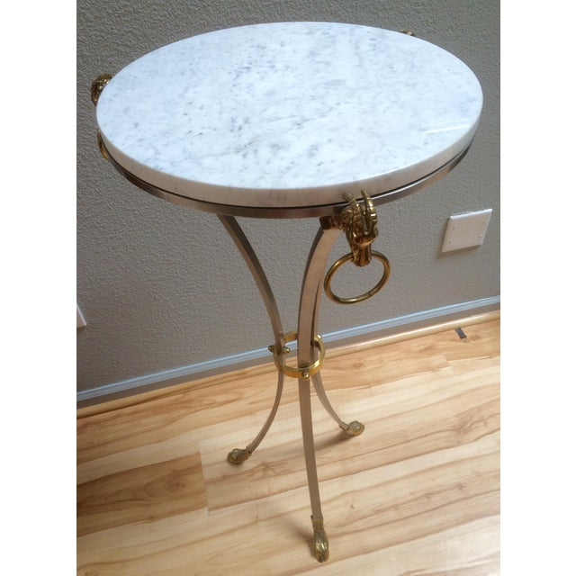 Hollywood Regency Marble & Brass Console Table - Image 3 of 8