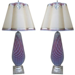 Murano Lamps With Parchment Shades - A Pair For Sale