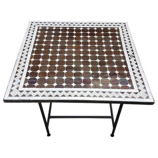 Moroccan Brown & Beige Mosaic Tile Table For Sale