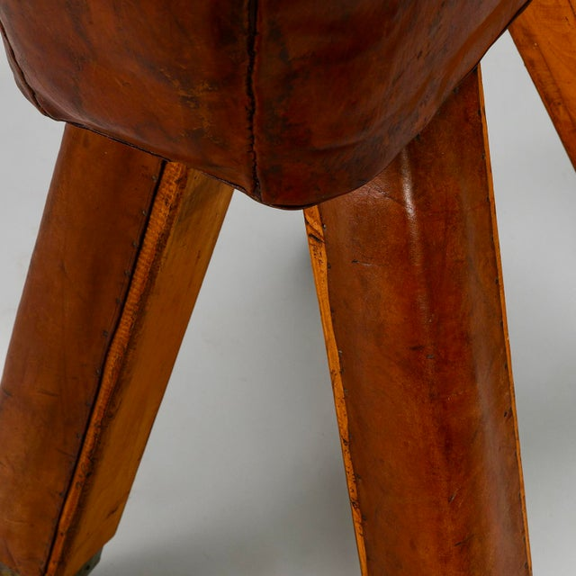 French Beechwood Metal & Leather Vaulting Horse c.1910 For Sale - Image 10 of 11