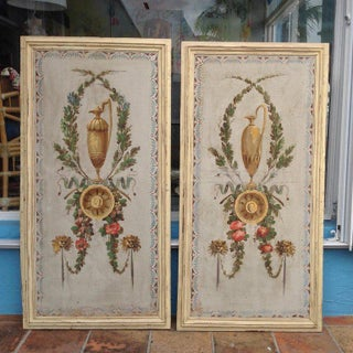 Pair of Antique Painted Canvas Window Panels Preview