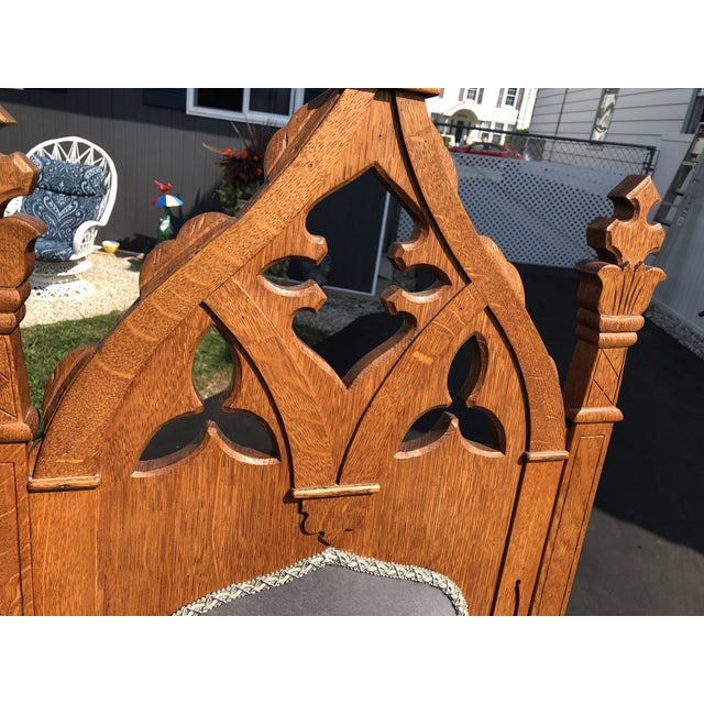 Vintage Gothic Revival Oak High Back Velvet Arm Chair For Sale - Image 9 of 12
