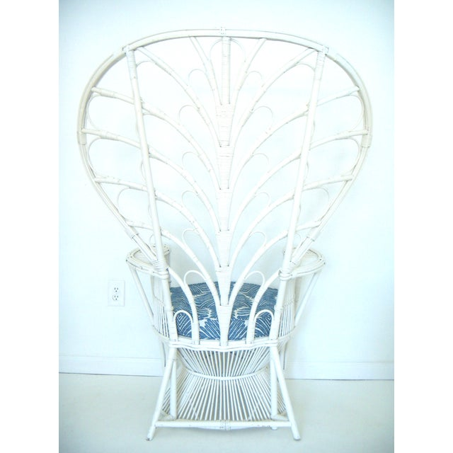 Anglo-Indian Vintage White Cane Peacock Chair & Cushion For Sale - Image 3 of 6
