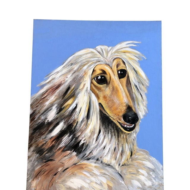 Large Contemporary Original Afghan Hound Dog Portrait Painting Signed For Sale