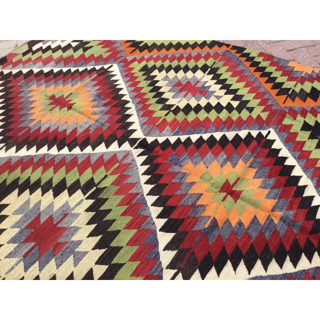 Black Vintage Turkish Kilim Rug For Sale - Image 8 of 10