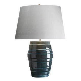 Neptune Speckled Blue Glaze Ceramic Table Lamp For Sale