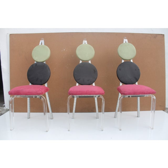 Vintage Lucite & Aluminum Dining - Chairs Set of 3 For Sale - Image 9 of 11