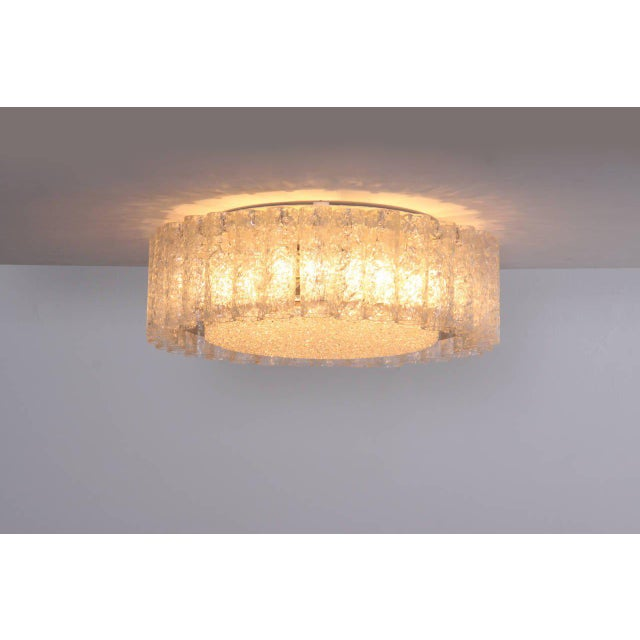 Metal Pair of Large Doria Glass Flush Mounts or Sconces with Brass Surround For Sale - Image 7 of 8