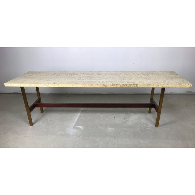 Mid-Century Modern Unique Travertine Walnut and Brass Cocktail Table Designed by Phillip Enfield For Sale - Image 3 of 8