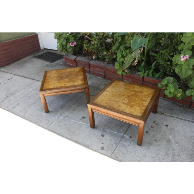 Wood 1960s Mid-Century Modern Henredon Burlwood Low Side Tables - a Pair For Sale - Image 7 of 8