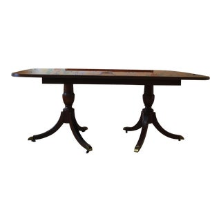 Regency Dual Pedestal Solid Wood Dining Table For Sale
