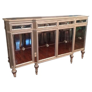 Horchow Antique French Style Dresden Four-Door Mirrored Buffet For Sale