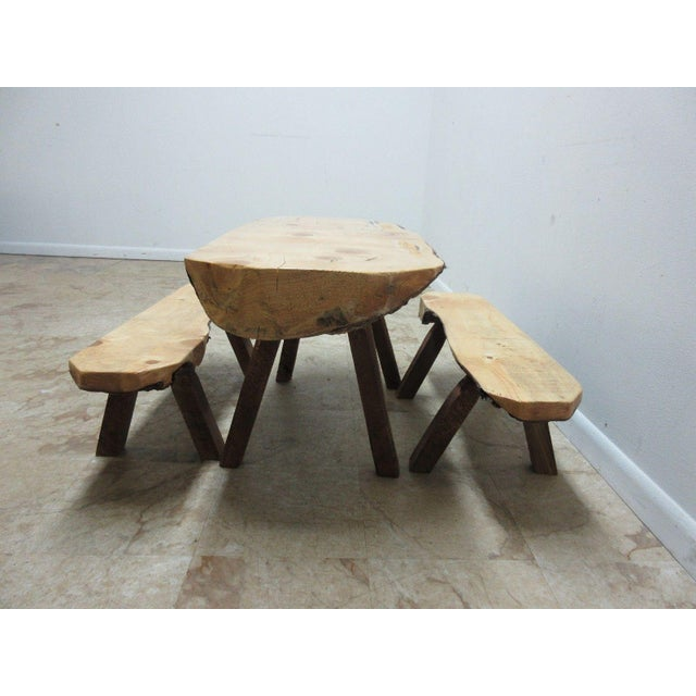 Childs Adirondack Cabin Free Form Slab Wood Live Edge Dining Set - Set of 3 For Sale - Image 4 of 11