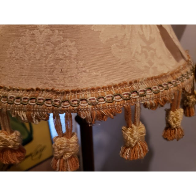 Vintage Buffet Lamps With Cloth Shades and Fringe - a Pair For Sale - Image 9 of 10