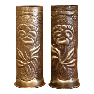 World War I French Trench Artillery Brass Shell Casing Vases, Dated 1917 - a Pair For Sale