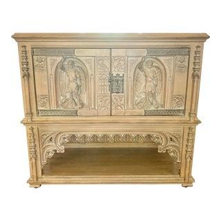 Antique French Carved Oak Vestment Cabinet For Sale