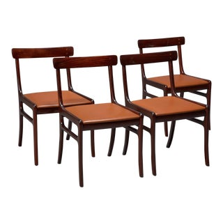 Ole Wanscher Mahogany Rungstedlund Dining Chairs With Leather Seats- Set of 4 For Sale