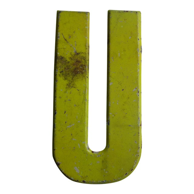 """Vintage Rustic Neon Yellow Metal Letter ''U"""" Sign For Sale"""