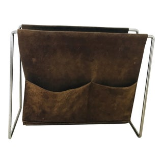 1970s Mid Century Modern Chrome and Suede Leather Sling Magazine Rack For Sale