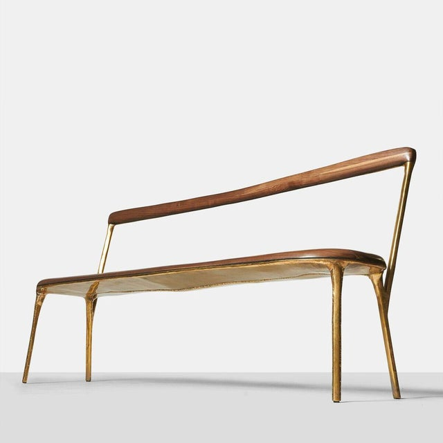 Valentin Loellmann Bench with Back in Brass For Sale - Image 4 of 12