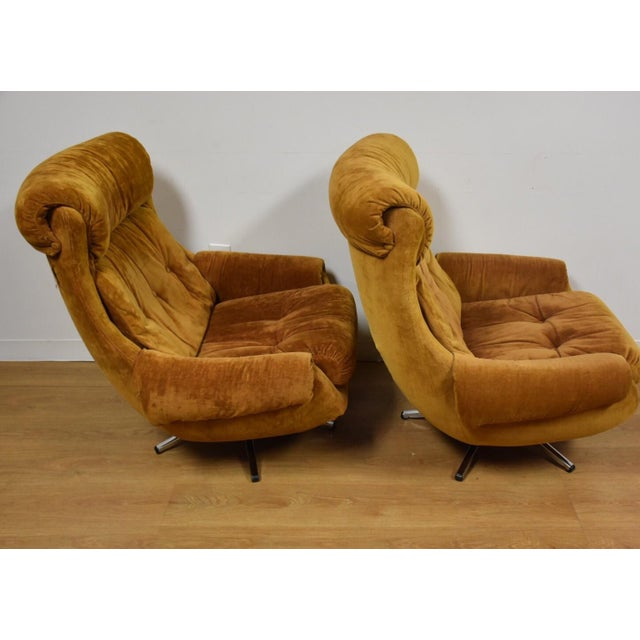 Orange Lounge Chairs & Ottomans - a Pair - Image 6 of 10