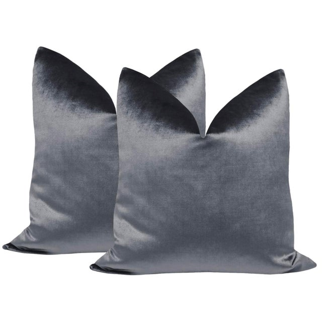 "2010s 22"" Graphite Velvet Pillows - a Pair For Sale - Image 5 of 5"