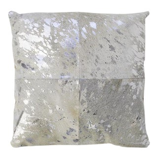 Modern Pasargad Home Forest Collection Cowhide Silver Pillow For Sale