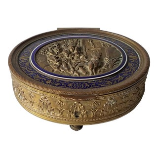 Antique French Ovington Brothers Brooklyn New York Gilt Bronze & Enamel Casket Box For Sale