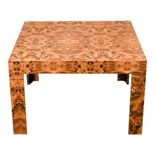 1970s Milo Baughman Style Burl Laminate Parsons Coffee Table For Sale