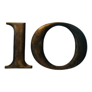 """1920s Cast Metal Number """"10"""" From F. W. Woolworth Store Front - 2 Pieces For Sale"""
