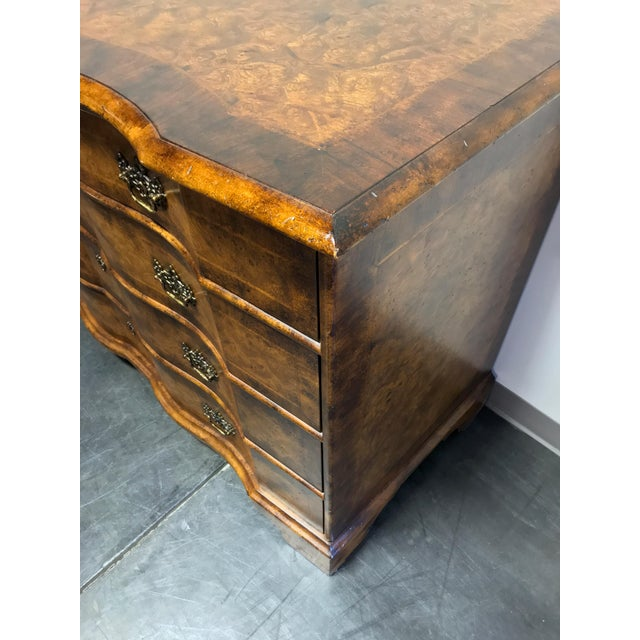 Brass Chippendale Inlaid Banded Burl Wood Serpentine Four Drawer Dresser Chest For Sale - Image 7 of 13