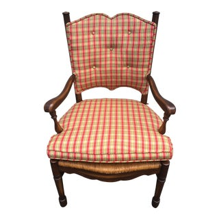 Vintage Rush Ladder Back Arm Chair For Sale