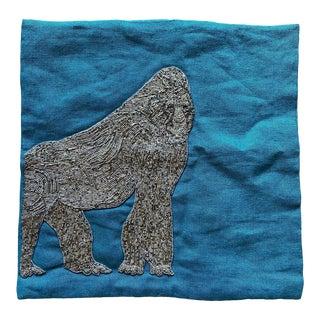 Jonathan Adler Zoology Gorilla Blue Throw Pillow Cover For Sale