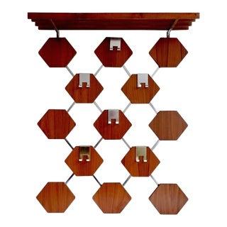 Vintage Danish Mid Century Hexagons Teak Wood Coat / Hat Hanger / Shelf For Sale