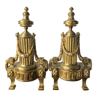 French Neo-Classical Brass Andirons/ Chenets For Sale